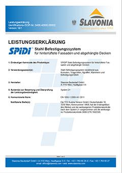 Ydelseserklæring til SPIDI-befæstelsessystem