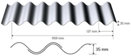Sinusprofil 35/137 i aluminium