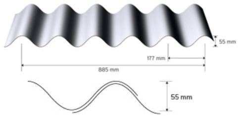 Sinusprofil 55/177 i aluminium