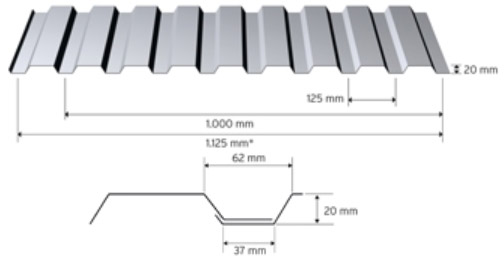 Trapezprofil 20/125 i aluminium