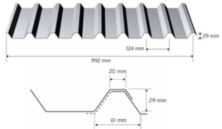 Trapezprofil 29/124 i aluminium