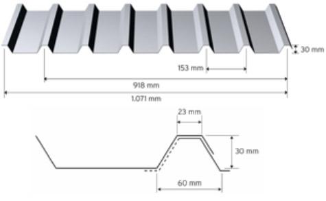 Trapezprofil 30/153 i aluminium