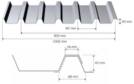 Trapezprofil 40/167 i aluminium