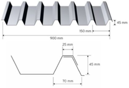 Trapezprofil 45/150 i aluminium