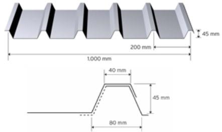 Trapezprofil 45/200 i aluminium