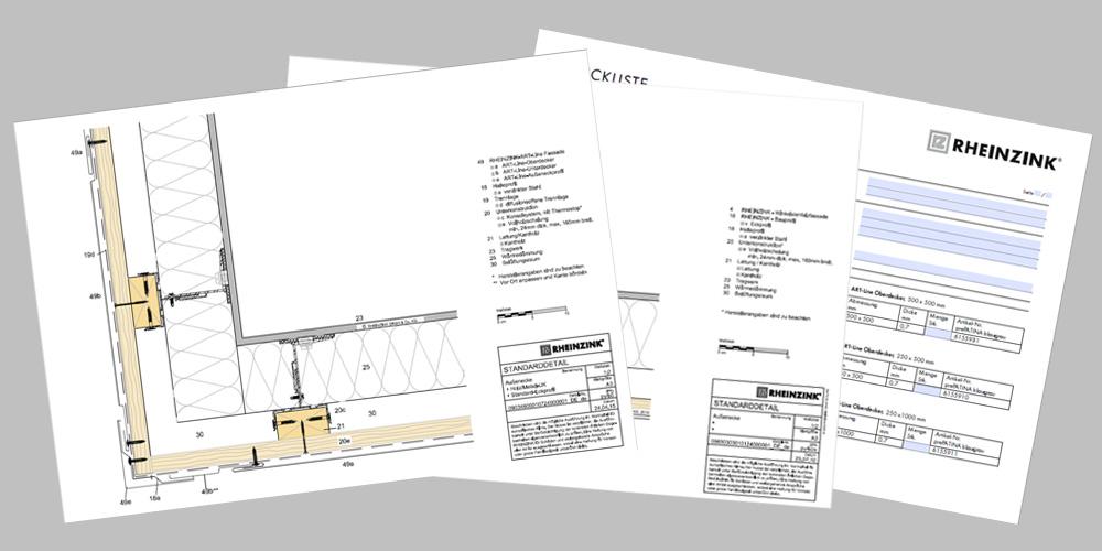 RHEINZINK-tekniske dokumenter